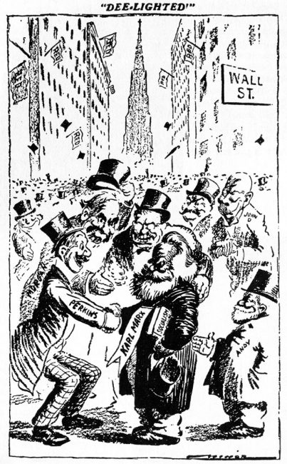 Karl Marx being congratulated by JP Morgan, JD Rockefeller, et al. St. Louis Post Dispatch circa 1911